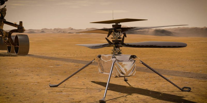 In this illustration, NASA's Ingenuity Mars Helicopter stands on the Red Planet's surface as NASA's Perseverance rover (partially visible on the left) rolls away. Credits: NASA/JPL-Caltech