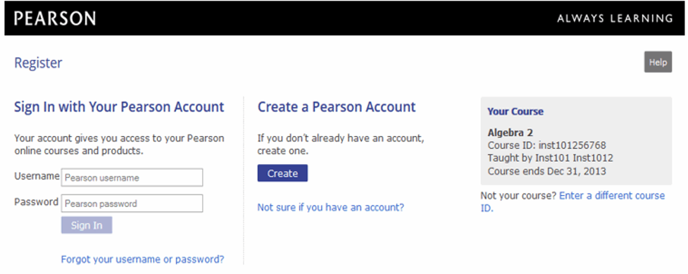 MyPearsonLab sign up and login page